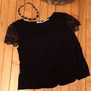 Kimchi Blue black tops pleats and lace sleeves